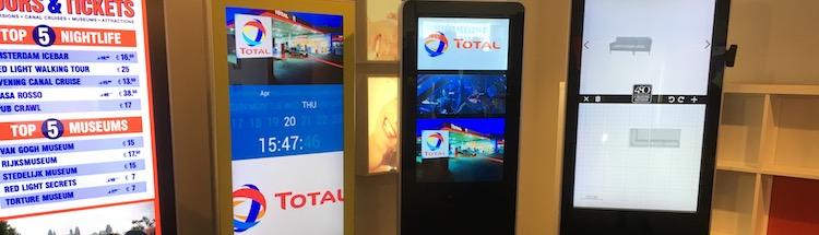 Voorbeelden Digital Signage in de showroom van IP Digital